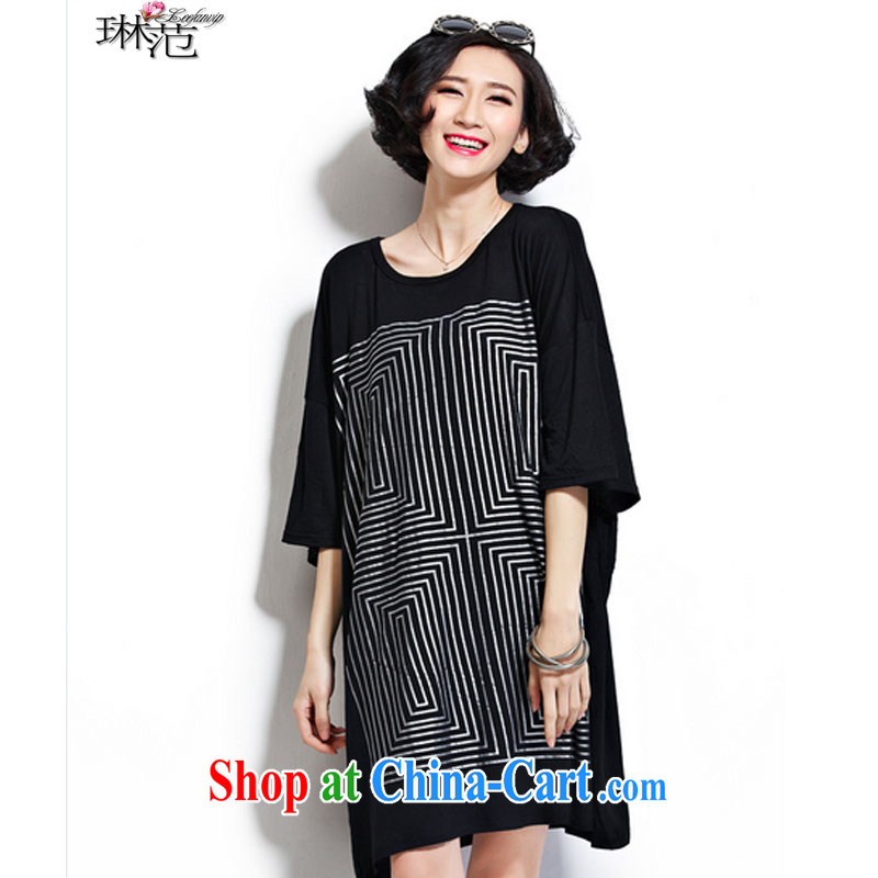 Lin van 2015 summer short sleeve ultra-loose the code leisure fashion dresses Korean Version Stamp T-shirt black large code are code