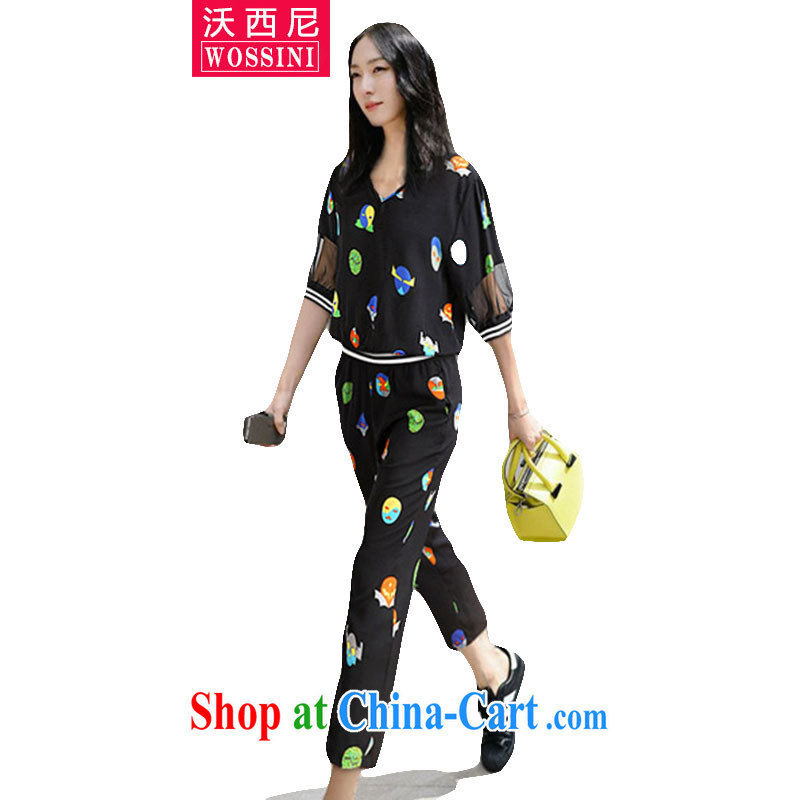 Kosovo, Western Europe and North America by 2015 and indeed XL summer female new thick mm stamp V collar short-sleeve T-shirt snow woven, trouser press kit 1544 photo color XXXXXL