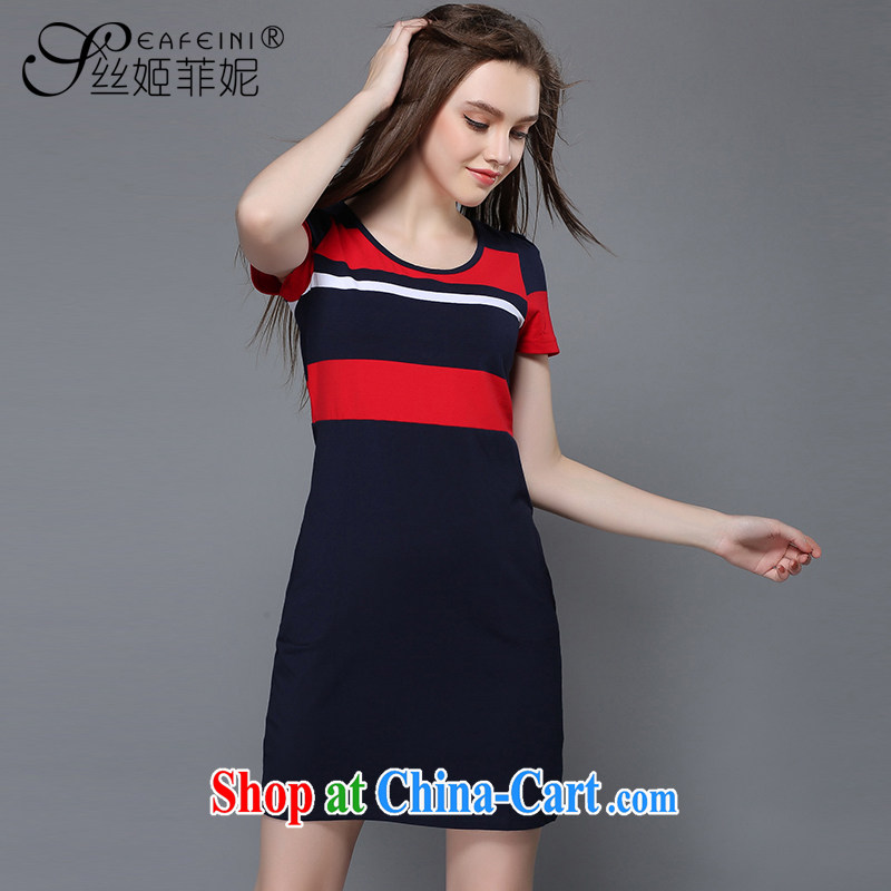 Population-hee , Anne The Code women mm thick collision color streaks Sau San video thin, long, pure cotton short-sleeved dresses summer 10,271 Red Bar knocked 3XL
