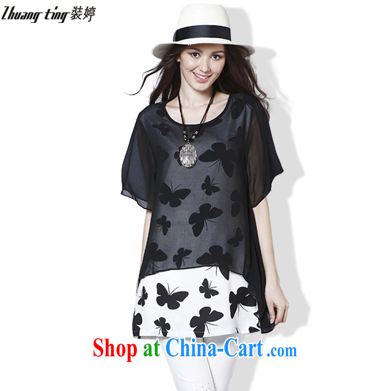 Replace-ting zhuangting Europe 2015 summer new, larger female butterfly stamp short sleeve loose snow woven dresses 8222 black XL