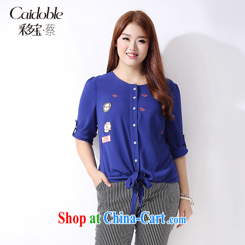 The multi-po 2015 summer new thick MM larger women stylish lounge on the embroidery tied knot 7 T-shirt girl A 3770 blue 2 XL