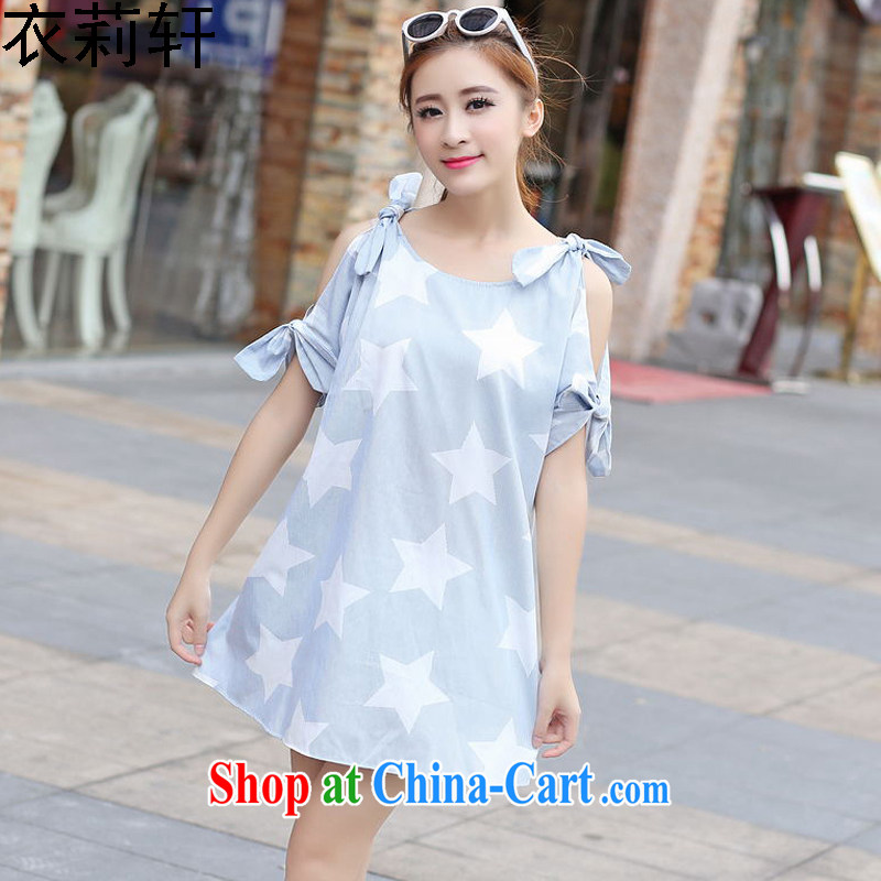 Yi Li Xuan 2015 plus fat XL women mm thick summer new bare shoulders bowtie short-sleeved loose video thin dresses white 4XL