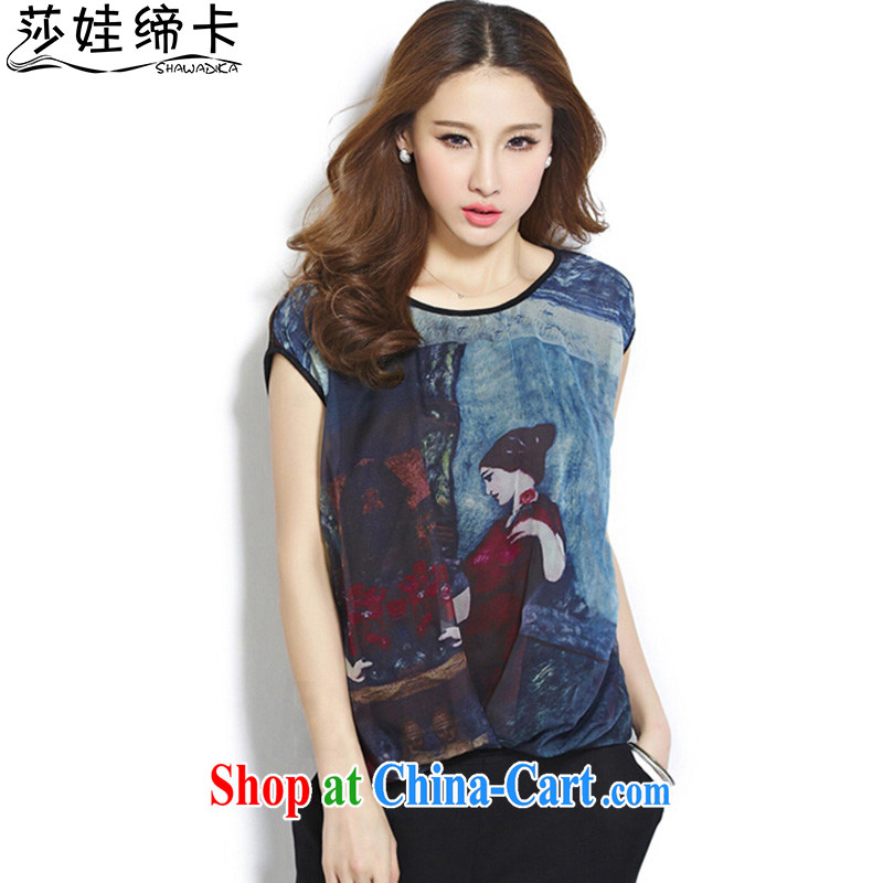 She concluded her card 200 Jack large, female summer and indeed increase students' T-shirts female short-sleeved loose thick mm video thin T-shirt black XL