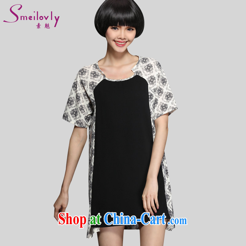 Director of 2015 summer new XL women mm thick Korean fashion stamp short-sleeved garment graphics thin, 2806 Black Large Number 3 XL 160 Jack left and right