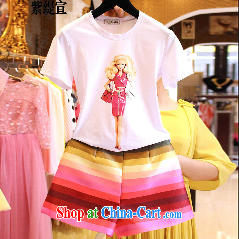 First and foremost economic propaganda Korean summer new two-piece and indeed XL female thick mm cartoon short-sleeved T shirt T-shirt + Rainbow striped short pants 7249 _5 XL 180 - 200 Jack left and right