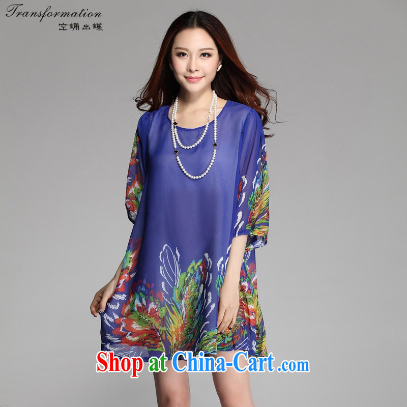 empty and the Butterfly summer larger dresses Korean version 2015 new stamp larger female snow woven dresses K 230 feather royal blue XXXL