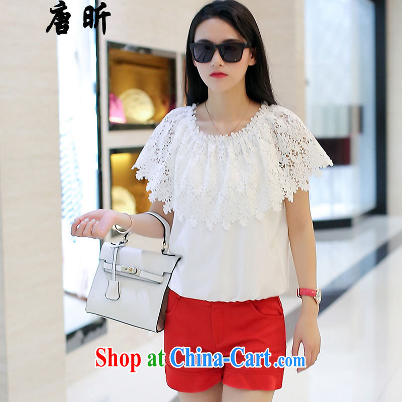 Tang year summer new short-sleeved snow woven two-piece larger female lace T shirt T-shirt + shorts white + red trousers 1795 XL 3 150 - 160 Jack left and right