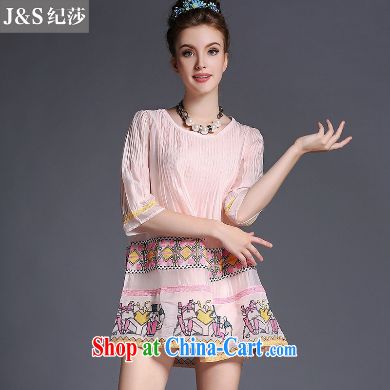Elizabeth and discipline in Europe premium brands mm thick larger women summer 2015 new the fat and loose video thin dresses A 693 - pink 2XL