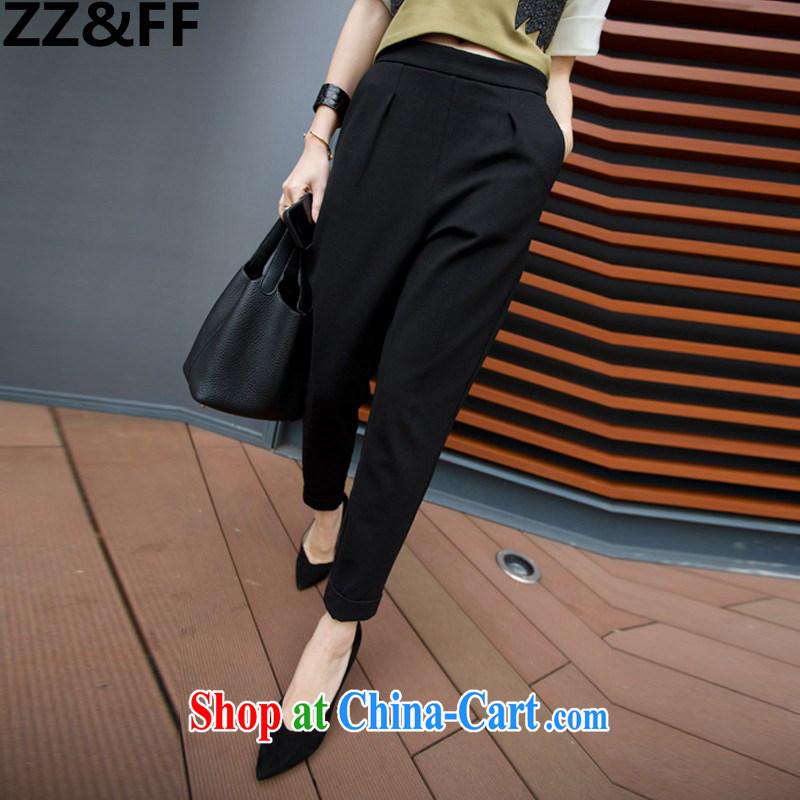 ZZ _FF summer 2015 new Korean version and stylish thick MM large Code women video thin leisure 9 castor pants girls summer 9053 black M