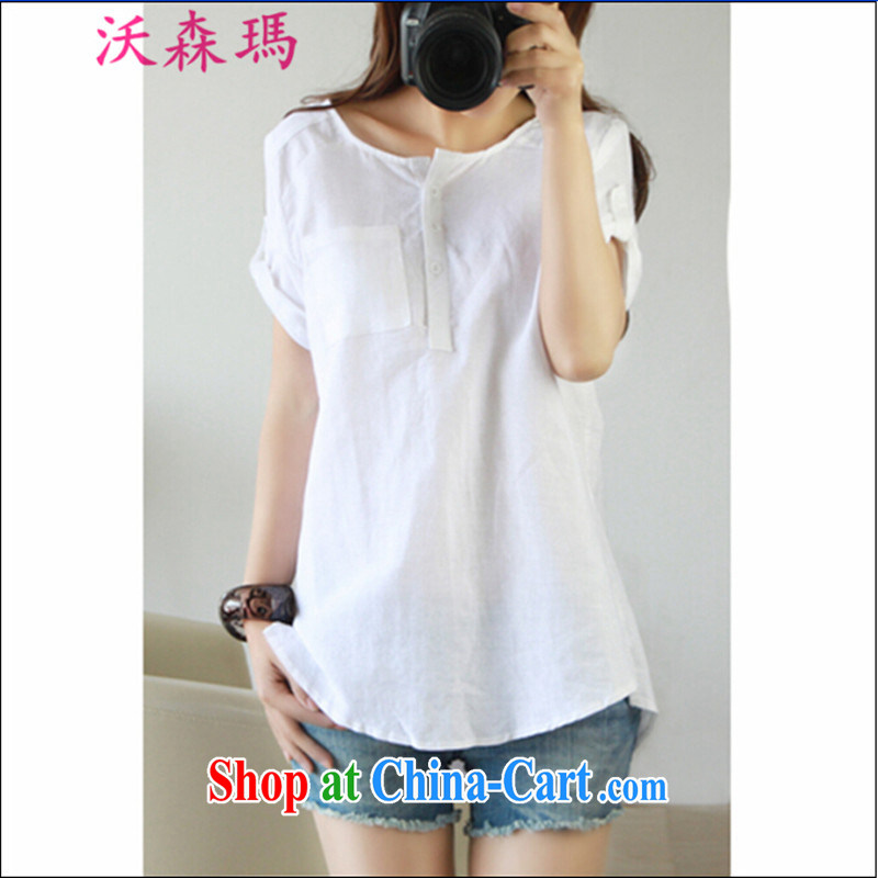 spring and summer, the code is simple and casual cotton the female shirt linen blouses, women, fearless young man Yau Ma Tei literature and the shirt large foreign trade code white XXXL, Watson and Manasseh (WOSENMA), online shopping
