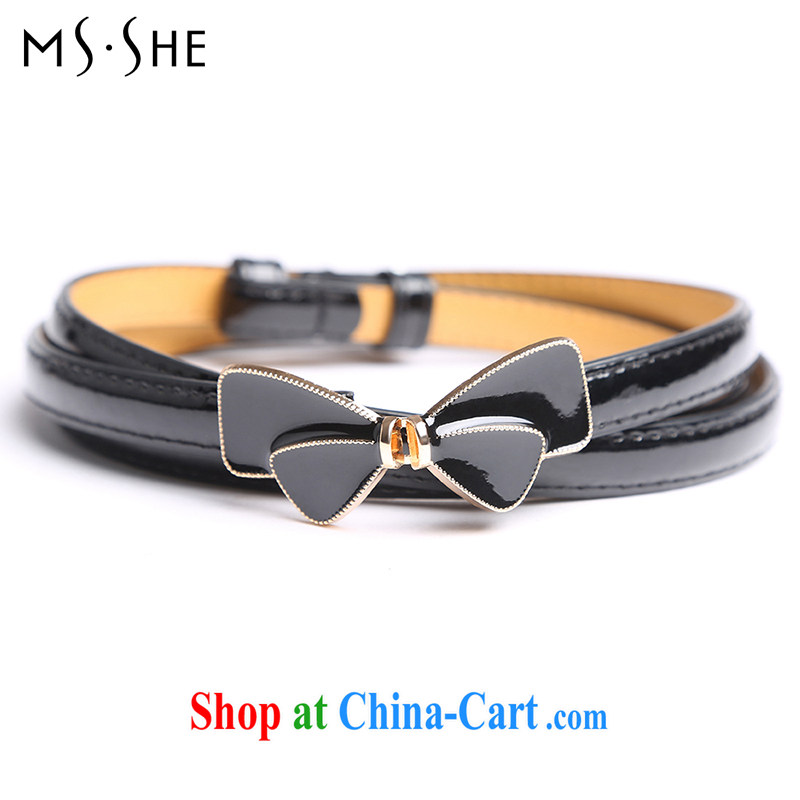 The MsShe Code women summer 2015 new bowtie layer 2 psoriasis 100 ground adjustable thin belt B 15 black 122 _ 1.3 CM