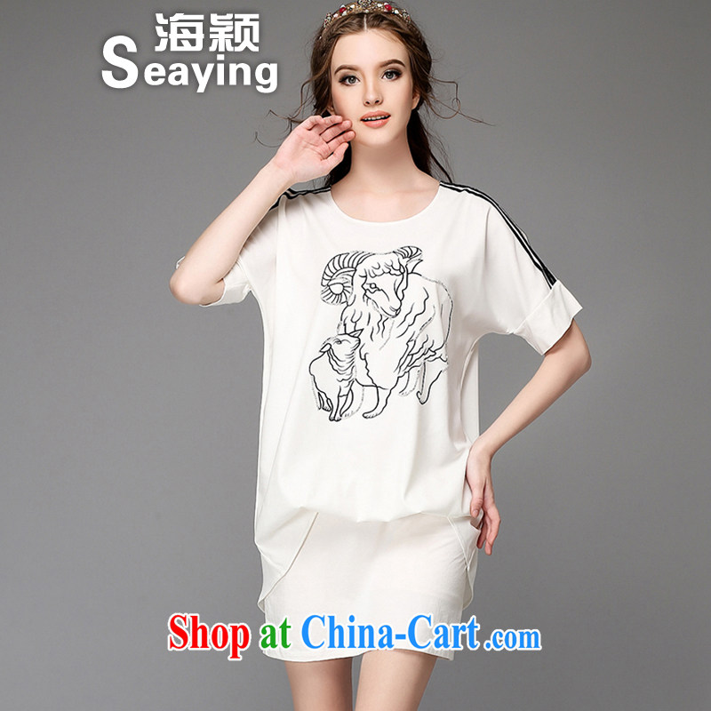 Hai Ying summer 2015 new emphasis on the younger sister, female fashion small sheep stamp hot drill leave two further leakage shoulder short sleeve dresses A 751 white 5 XL _large numbers_