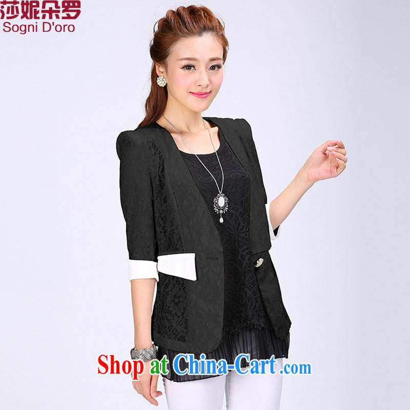 Elizabeth Anne flower, the code female Korean short video thin lace small suits women jacket 2014 autumn 6782 with black 6 XL
