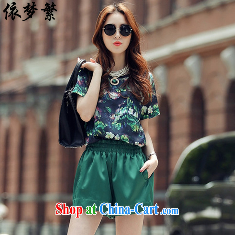 According to dream to ensure 2015 summer new, larger female short-sleeved style Leisure package _T-shirt + shorts_ 988 green Kit 3 XL _140 - 155_