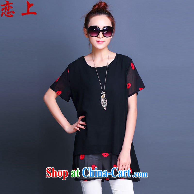 Love, summer 2015 with new short-sleeved clothes snow woven shirts thick MM large numbers leave of two pieces of ladies dress 8088 black XXXXXL