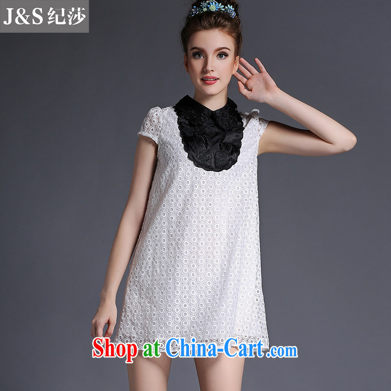Elizabeth and 2015 European high-end larger female summer new FAT, thick mm lace loose video thin Openwork embroidery lapel dress A 695 - White XL
