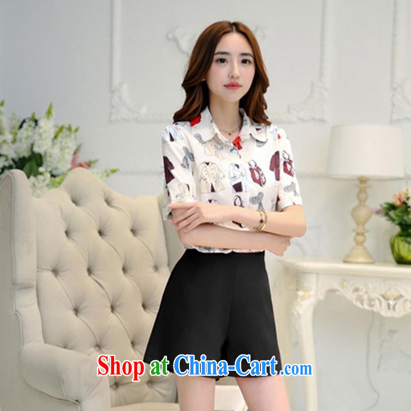 100 Of The 2015 summer new female commuter style sexy flower shirt red wide leg shorts stylish leisure package black M