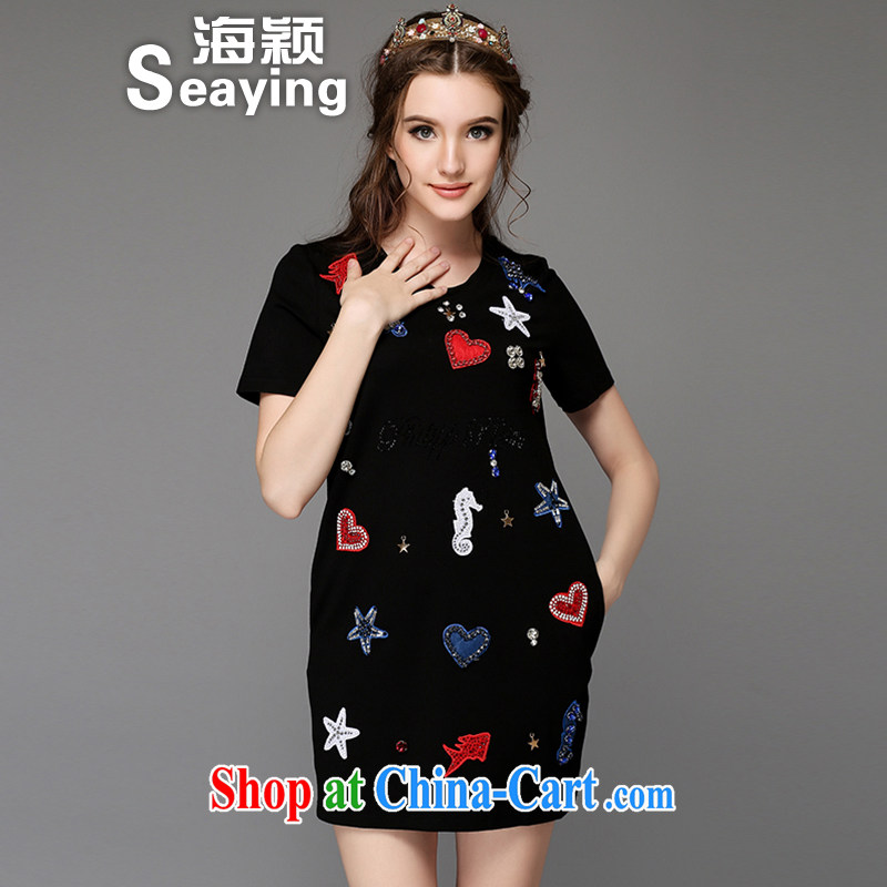 Hai Ying 2015 summer new larger female thick sister cotton love embroidered hot drill short-sleeved dresses A 756 black 5 XL _large numbers_
