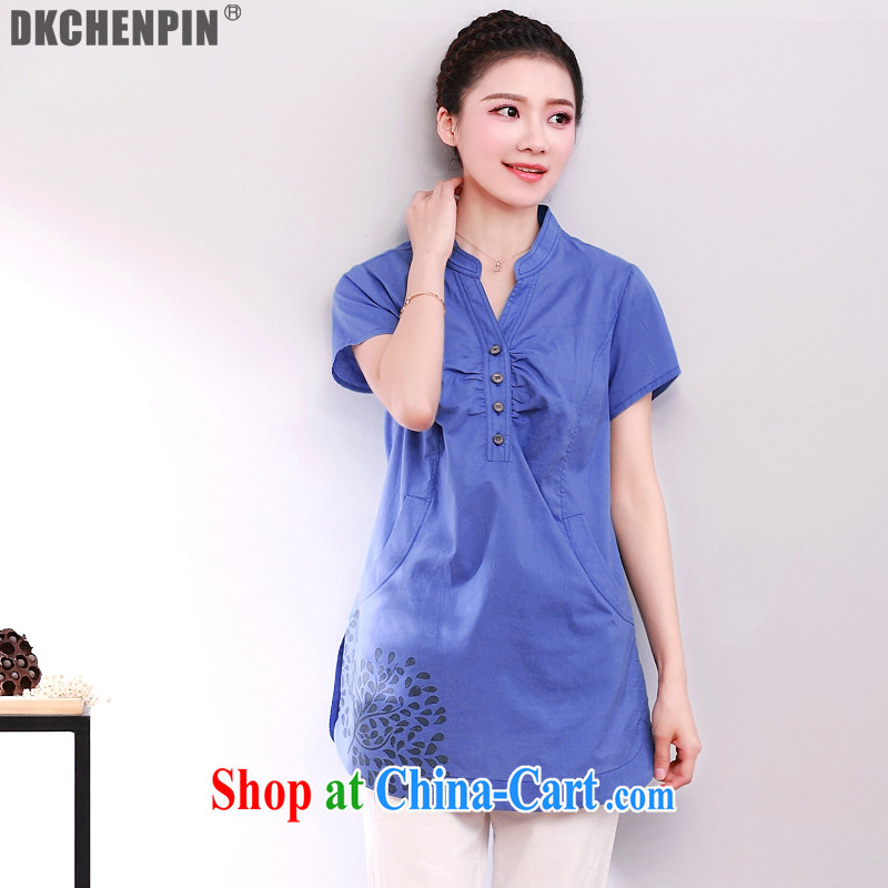 The Dkchenpin code female thick MM summer short-sleeved shirt Korean loose shirt, long blue T-shirt 3XL