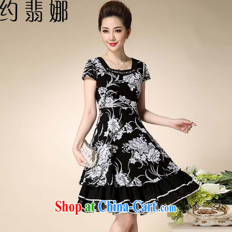 About Patek Philippe's 2015 summer women's clothing style MOM snow woven lace stamp the code short-sleeve large dresses D 8981 black flower XXXL