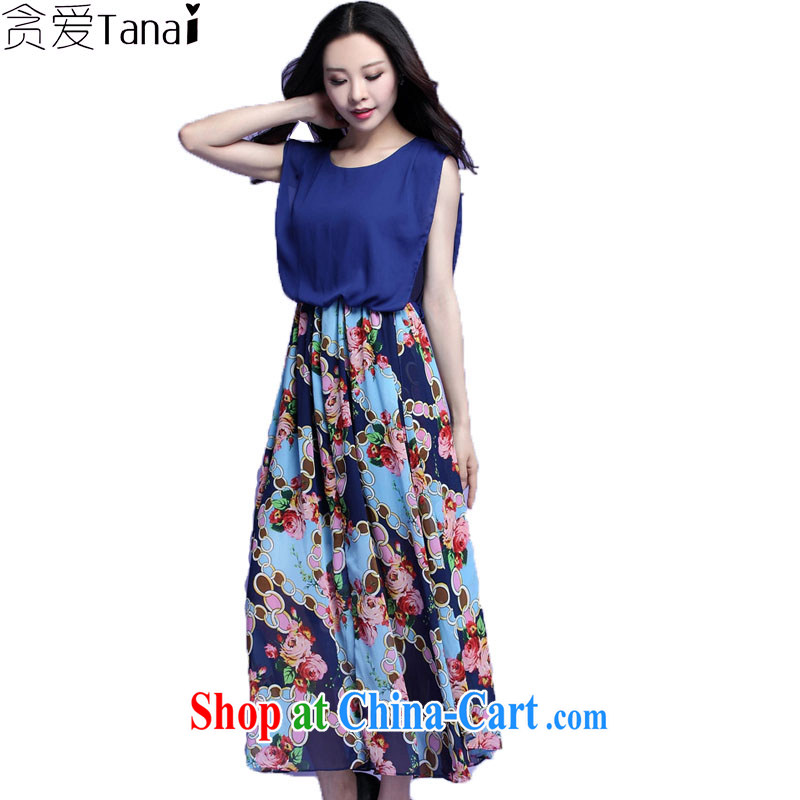 Loved fat people graphics thin large code female thick sister summer sleeveless bohemian floral snow woven double-yi long skirt 3715 blue 4 XL