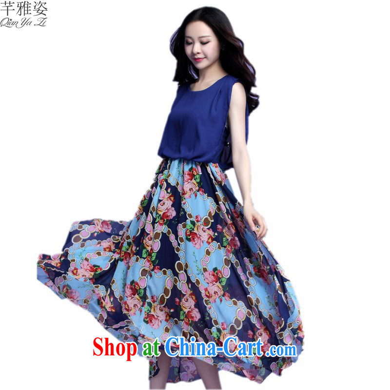 The 2015 summer new bohemian dresses and indeed intensify, seaside resort beach skirt snow woven skirts stamp large skirts thick mm blue XXL approximately 140 - 155 jack