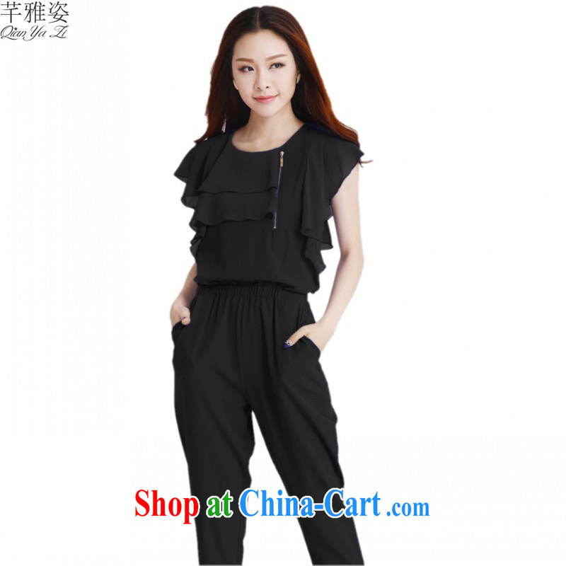 The payment is the XL 2015 spring NEW GRAPHICS thin pants female beauty 100 ground-trousers girls flouncing round-collar castor pants thick mm black 4XL approximately 170 - 185 jack