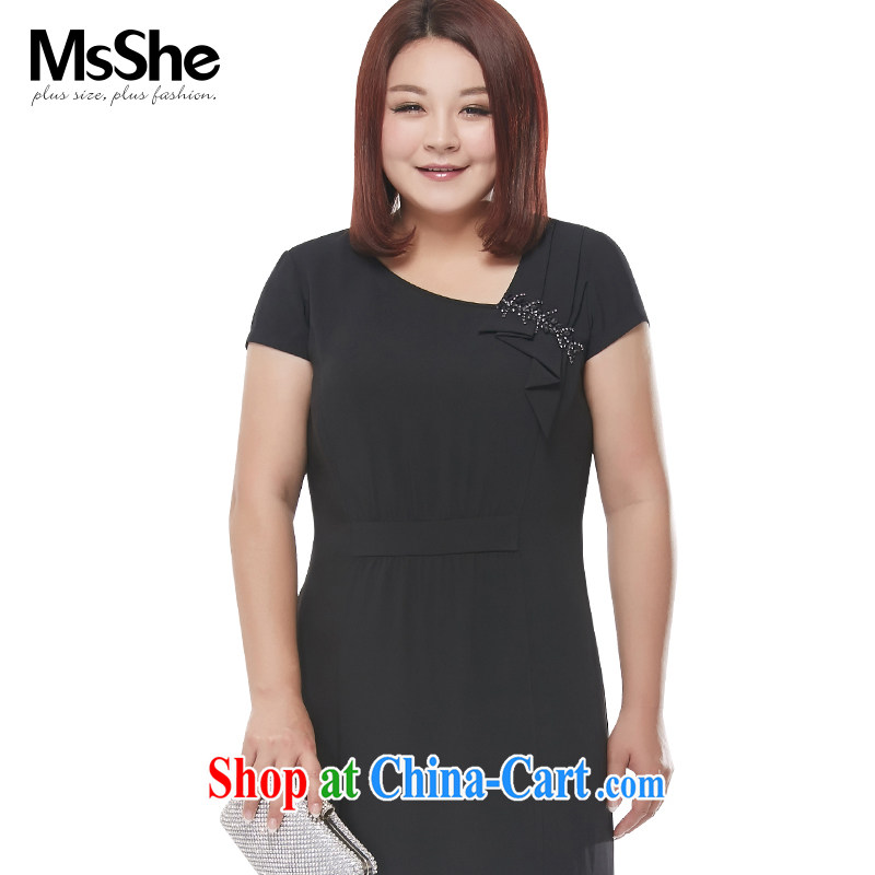 MsShe XL girls 2015 new summer rules not V collar pin pearl-waist dress 4000 black 3 XL