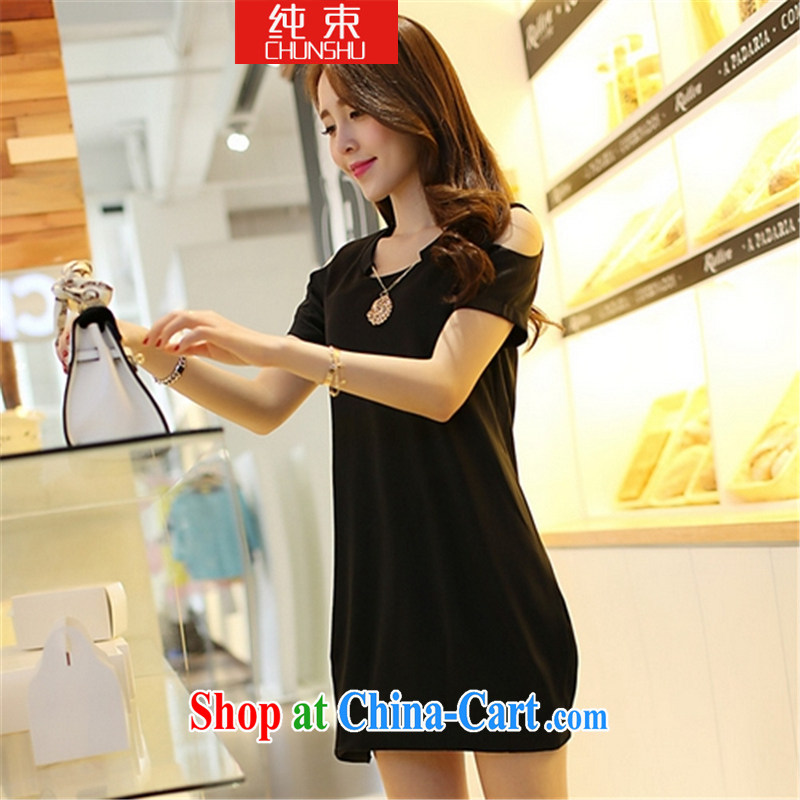 Pure beam 2015 mm thick summer is the XL female Korean video thin beauty thick sister dress black large code XXXL