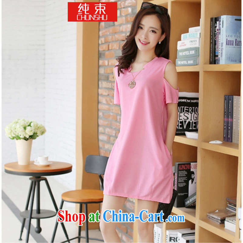 Pure beam thick mm King Size and indeed increase, female summer Jack thick sister dresses video thin short-sleeved T-shirt girls light pink 2XL _135 Jack to Jack 155_