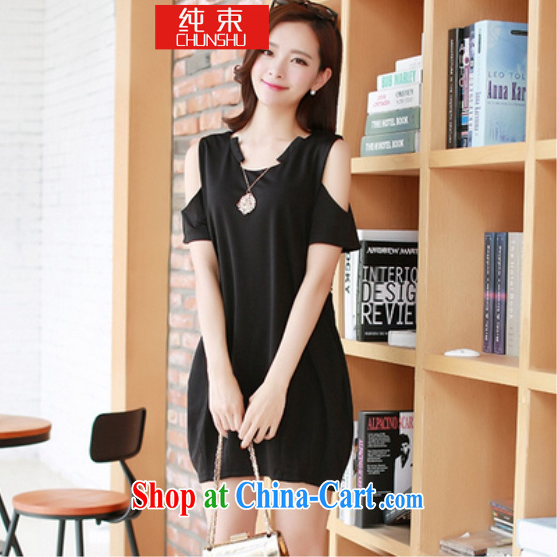 Pure beam thick mm King Size and indeed increase, female summer Jack thick sister dresses video thin short-sleeved T-shirt female black 4 XL _170 Jack to Jack 200 _