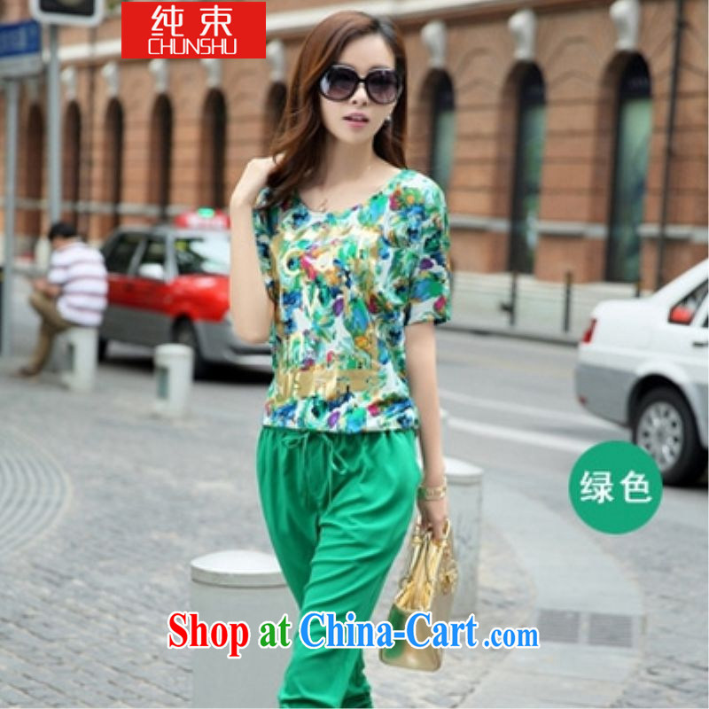 A harness and indeed XL girls thick mm summer short-sleeved T-shirt Jack thick sister Korean version 7 pants Leisure package green (T-shirt pants) code 4 XL 180 - 200 jack