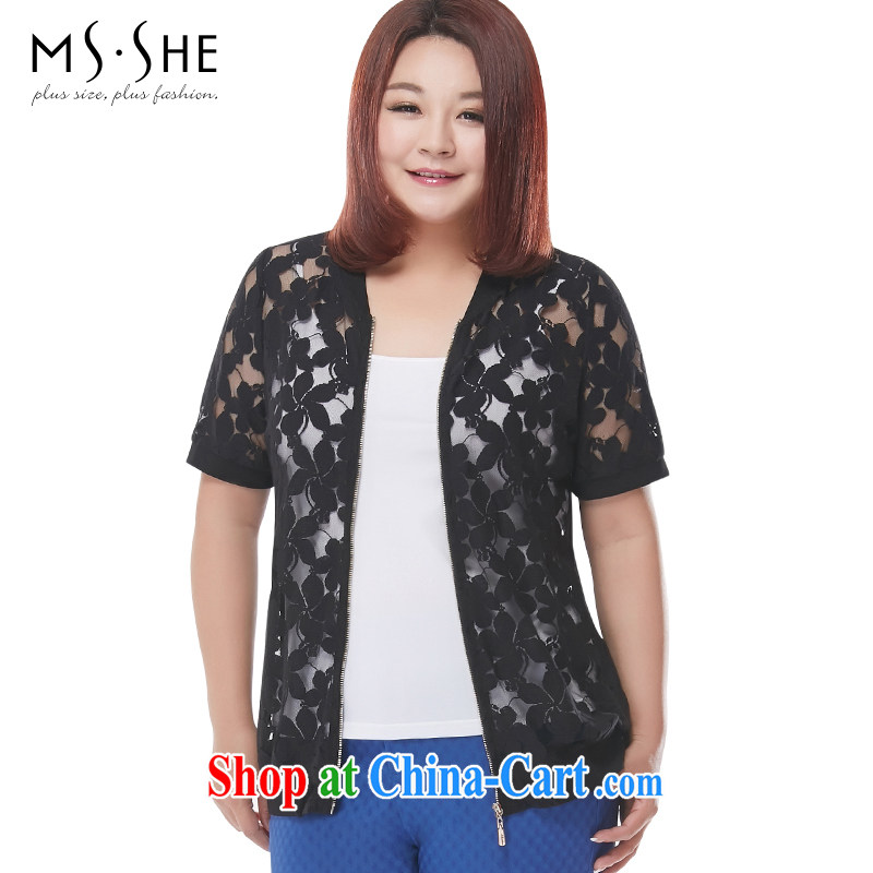 MsShe XL girls 2015 new summer ribbed sweater jacket lace small jacket 4446 black 6 XL