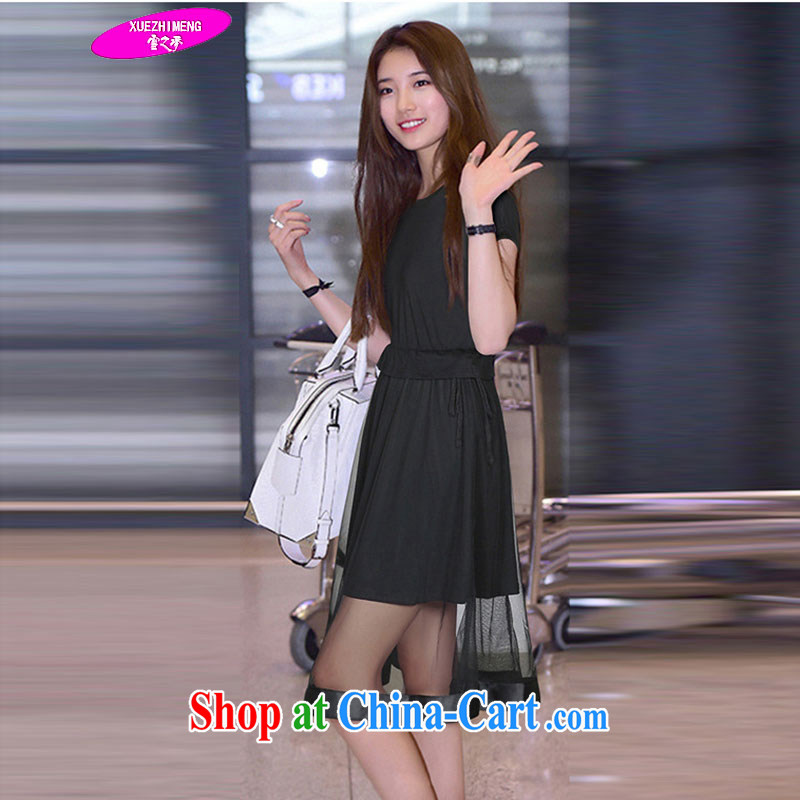Snow's dream 2015 the code female summer is the increase in long, 200 Jack mm thick Europe short-sleeved dress 9557 black 3 XL 140 - 165 jack
