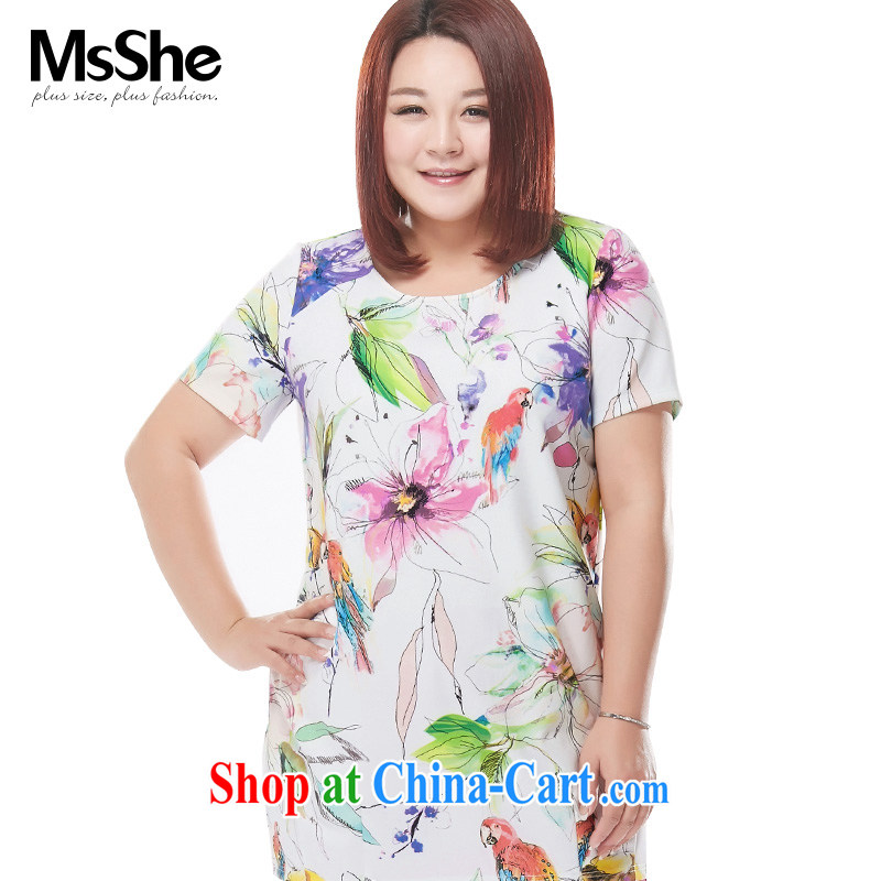 MsShe XL girls 2015 new summer MM on stamp duty for graphics thin T-shirt pre-sale 4597 black on white stamp duty 3 XL - pre-sale on 30 June to the