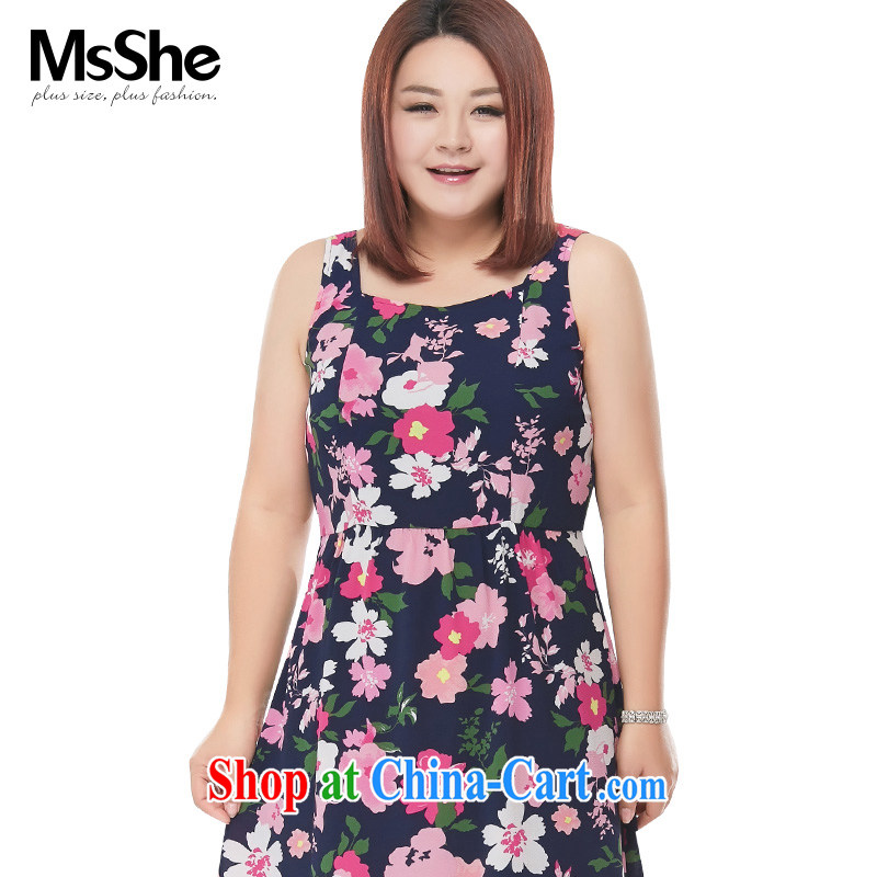 MsShe XL girls 2015 new summer stamp vest skirt dresses small A beauty with pre-sale 4681 blue - pre-sale on 30 June to the 3 XL