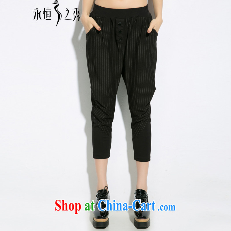 Eternal show 2015 summer thick MM new, larger female down and stylish black-and-white graphics thin pants striped black 2 XL