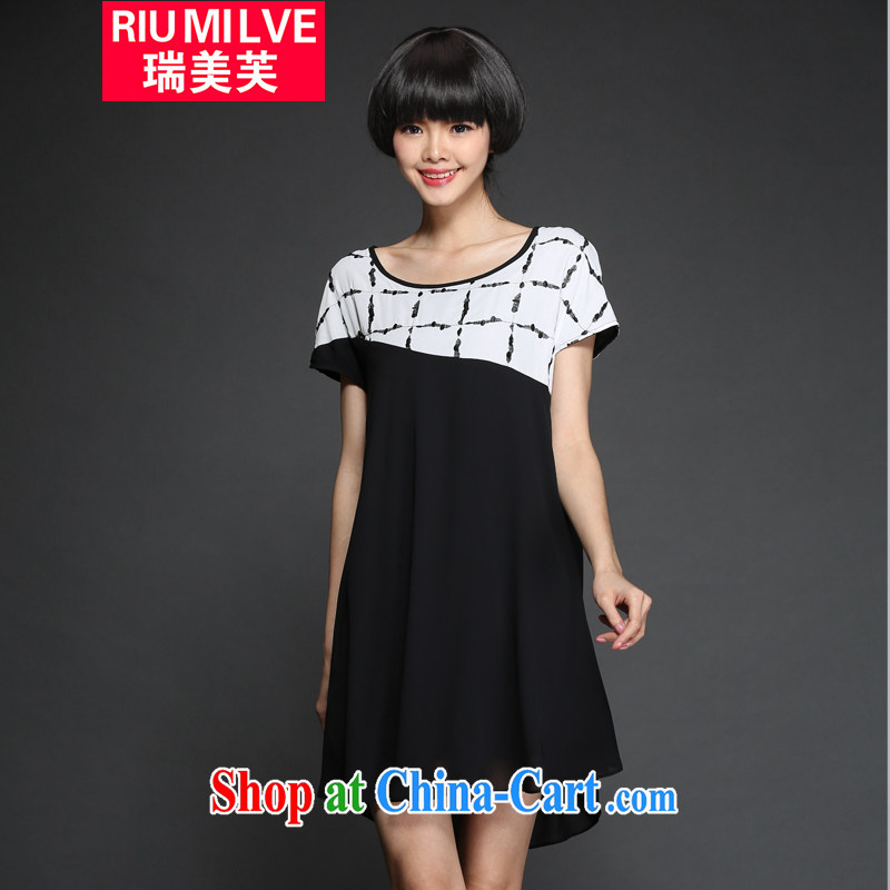 Ryan and the United States by 2015 will be new, and indeed increase, female summer short-sleeved dress mm thick loose video thin knocked color stitching snow woven dresses 2869 black XXXL