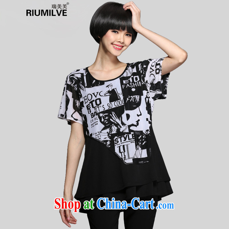 Ryan and the United States concluded 2015 Korean version of the greater code female summer new the FAT and FAT MM loose video thin short sleeved shirt T long, female T-shirt S 1345 black XXXL