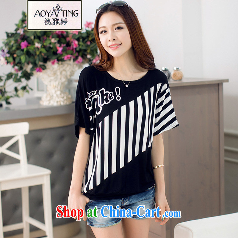 o Ya-ting 2015 New, and indeed increase, female fat mm video thin T-shirt loose striped short-sleeved T-shirt female black XL recommends that you 140 - 160 jack