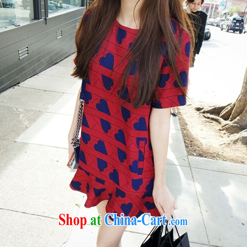 Colorful nickname Julia fat people graphics thin, summer lovely dress with the FAT increase Code women mm thick leisure relaxed version flouncing short-sleeved dresses red 5 XL