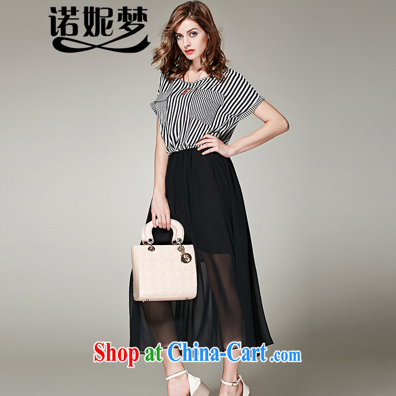 Connie's dream in Europe and America, the female summer and indeed increase 2015 new thick mm stylish stripes stitching snow woven dresses s 3658 black XXXXXL