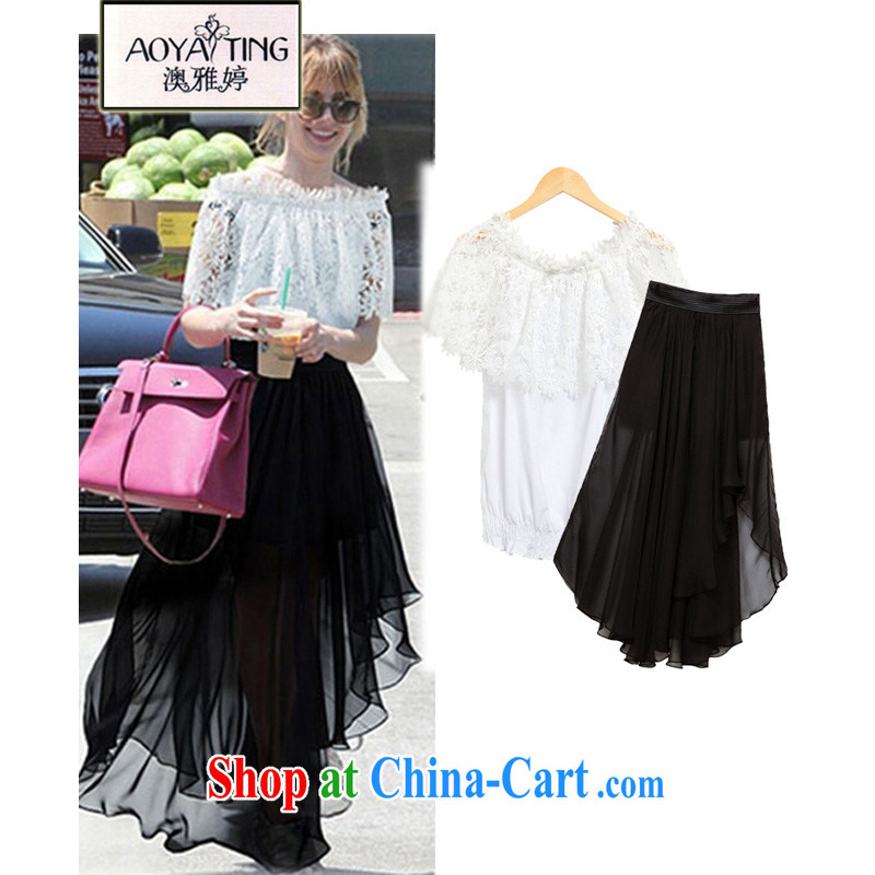 o Ya-ting 2015 New, and indeed increase, female fat mm video thin lace T shirt T-shirt girls snow woven dresses skirts package picture color two-piece 5 XL recommends that you 175 - 200 jack