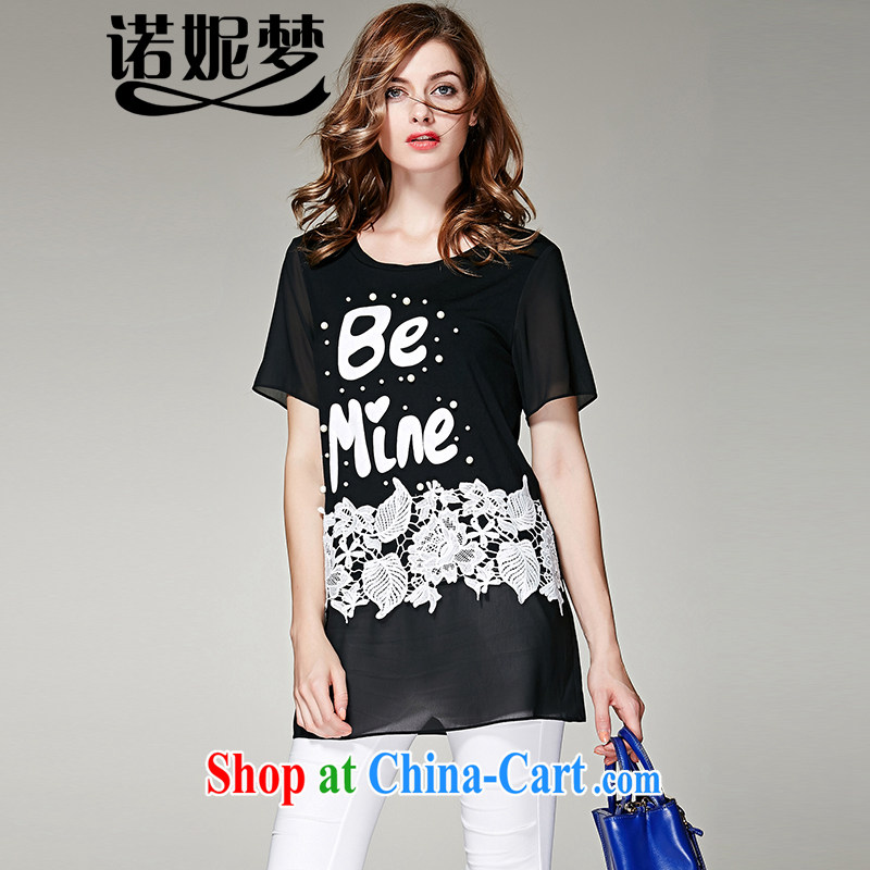 Connie's dream in Europe and America, the ladies' 2015 summer new thick mm elegant embroidery, long letter stamp loose short-sleeve T-shirt women T-shirt s 3627 black XXXL
