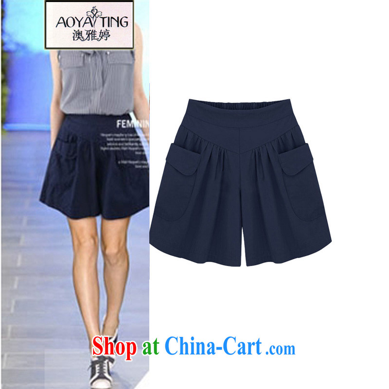 o Ya-ting 2015 New, and indeed increase, female summer thick mm high waist graphics thin shorts girls pants hot pants dark blue 5 XL recommends that you 175 - 200 jack