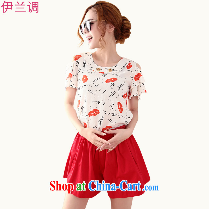 The LAN-kit mm thick summer and significantly, women 2015 summer thick sister T shirts shorts casual stylish campaign 5805 red XXXXL