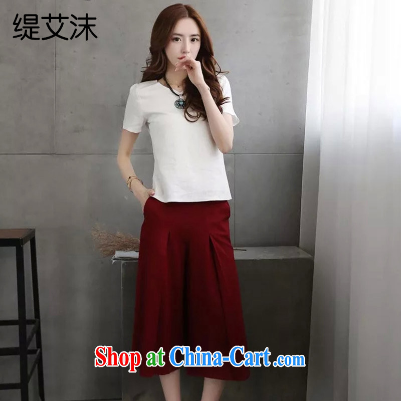 As the bubbles 20152015 new female summer stylish cotton Ma meter wide leg trousers + cotton Ma T-shirt two-piece lounge suite 10,520 A B wine red M