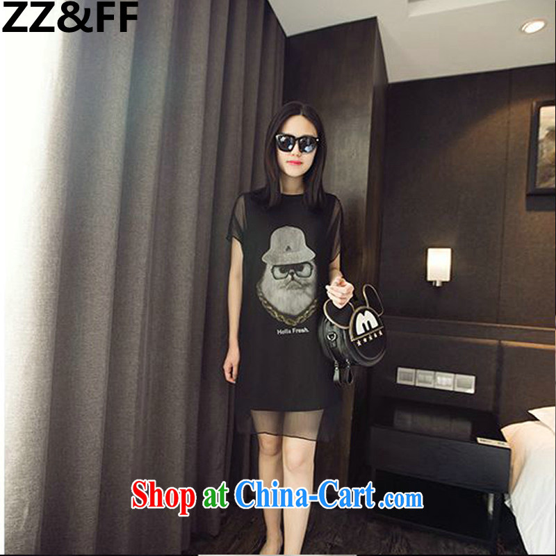 ZZ &FF 2015 larger female Jack 200 mm thick owl yarn stitching graphics thin fake two-piece short sleeve dress black XXXXXL (recommendations 200 - 210 jack)