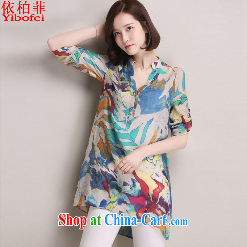 According to perfect 2015 Korean version of the new, larger female loose 100 in ground long shirt girls cotton Ma shirt Y 2209 blue 4 XL