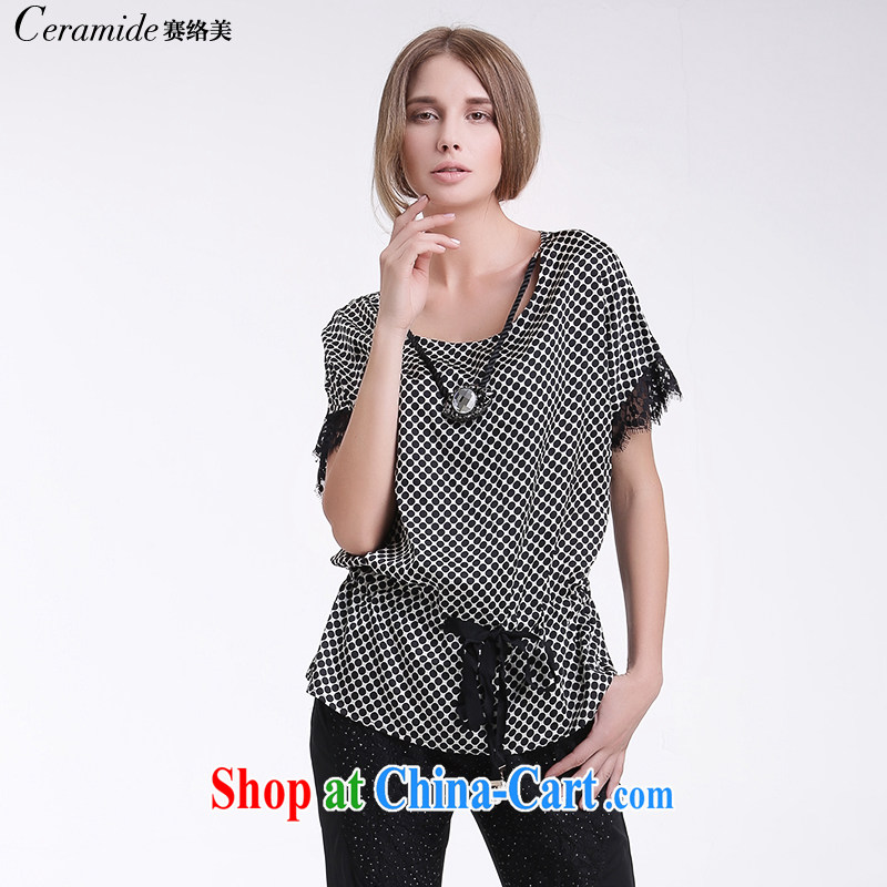 Race Contact Us 2015 summer new elegant lace spell thick mm loose snow woven shirts T-shirt with short sleeves shirt 651203090 black-and-white point 38